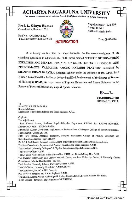 B Shanthi Kiran got Phd