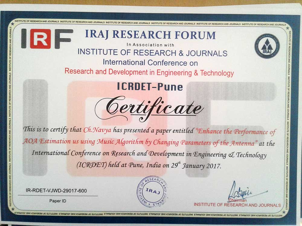 btech ECE-A project students participated in international conference 2