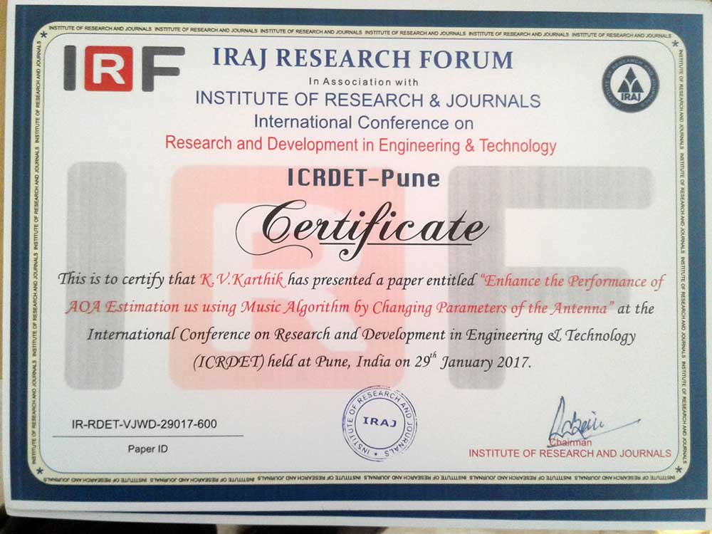 btech ECE-A project students participated in international conference 3