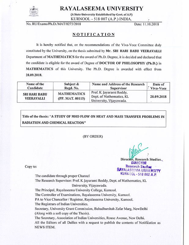 doctorate to sri hari babu document